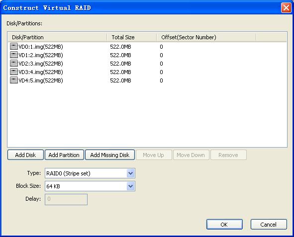 Construct Virtual RAID Dialog